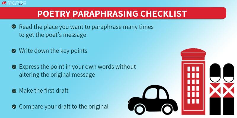 poem paraphrasing checklist